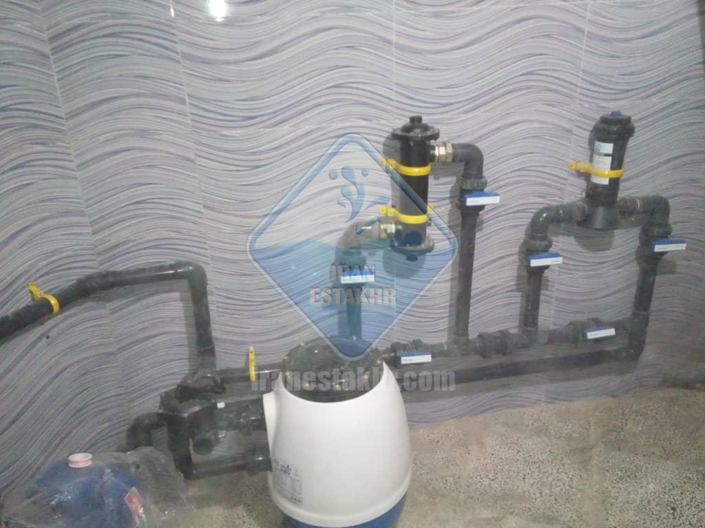 پروژه در حال اجرای سیستم تصفیه و گرمایش استخر آب درمانی-خیابان بعثت